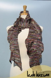 Multi Knit Scarf in Dark Pink